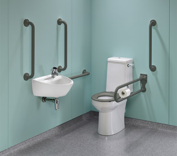 Additional image of Twyford Doc.M Rimless Super CC WC Pack With Blue Grab Rails And Seat