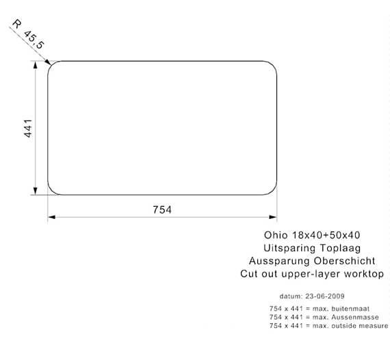 Additional image for QS-V94072 Reginox Sinks - OHIO 18X40+50X40 L