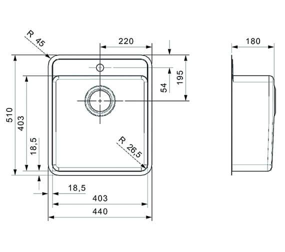 Technical drawing QS-V94074 / OHIO 40X40 TW