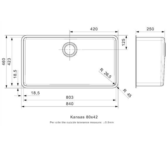 Alternate image of Reginox Kansas Single Bowl Integrated Stainless Steel Sink 220mm