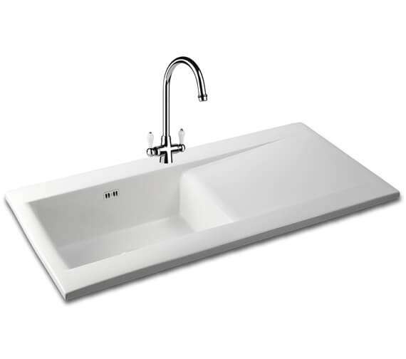 Carron Phoenix Sapphira 100 White 1.0 Bowl Inset Kitchen Sink