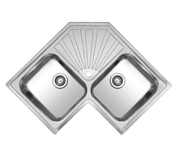 Reginox Montreal 830 x 830mm Double Bowl Corner Inset Sink With Drainer