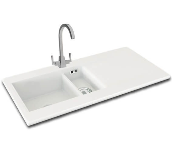 Carron Phoenix Sapphira 150 White 1.5 Bowl Inset Kitchen Sink