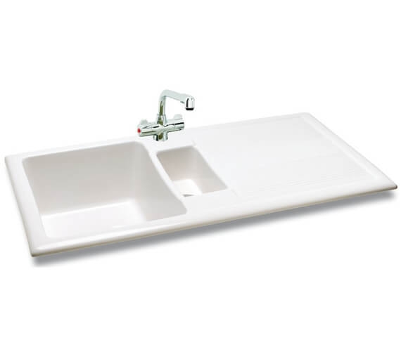Carron Phoenix Shonelle 150 White 1.5 Bowl Inset Kitchen Sink