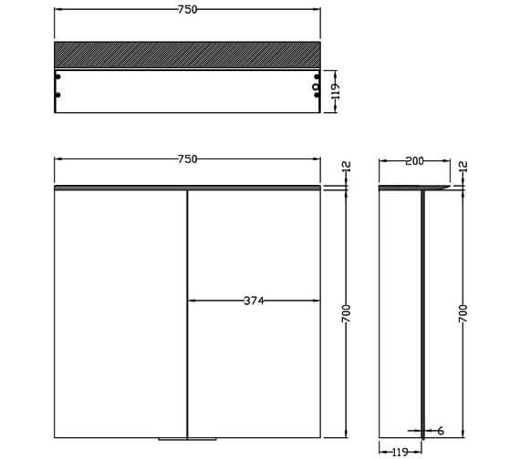 Additional image of Saneux Glacier 2 Door Cabinet With Light And Shaver Socket