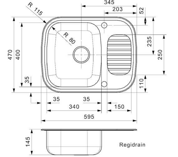 Technical drawing QS-V94103 / REGIDRAIN R