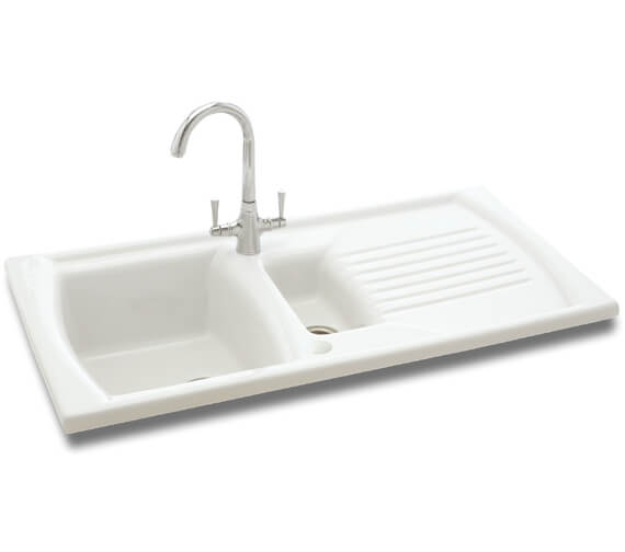 Carron Phoenix Solaris 150 White 1.5 Bowl Inset Kitchen Sink