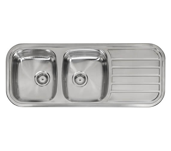 Reginox Regent-30 1190 x 480mm Double Bowl Inset Sink With Right Hand Drainer
