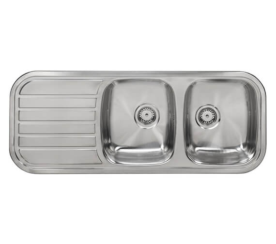 Additional image of Reginox Regent-30 1190 x 480mm Double Bowl Inset Sink With Right Hand Drainer