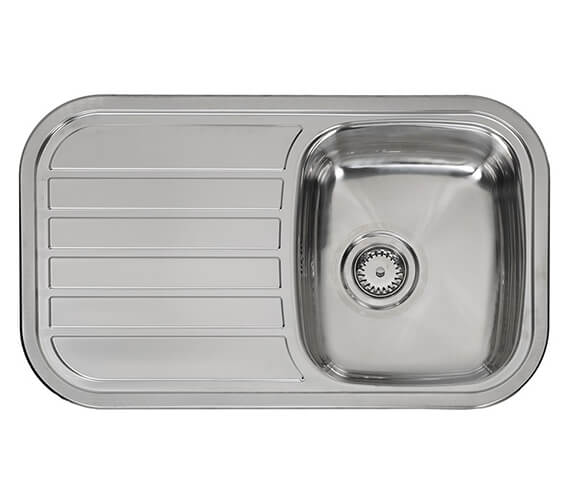 Additional image of Reginox Regent 805 x 480mm Single Bowl Stainless Steel Inset Sink With Main Bowl Left