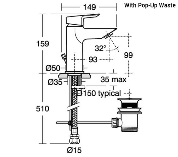 Additional image of Ideal Standard Tesi Single Lever Basin Mixer Tap
