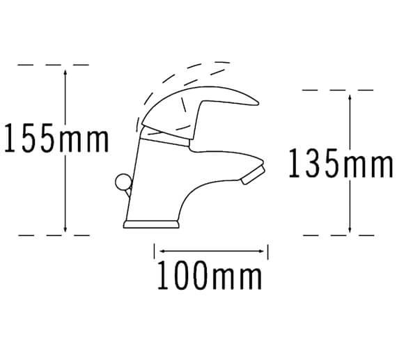 Additional image of Tre Mercati Novara Mini Mono Basin Mixer Tap With Click Clack Waste