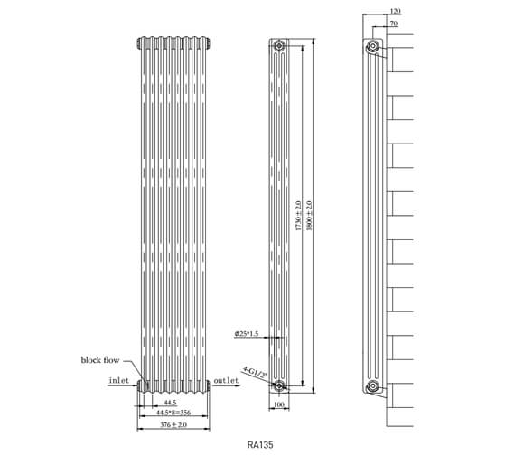Additional image of Phoenix Nicole 287 x 1800mm 3 Column Vertical Radiator
