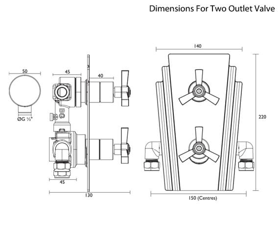 Additional image of Heritage Gracechurch Chrome Recessed Shower Valve Only