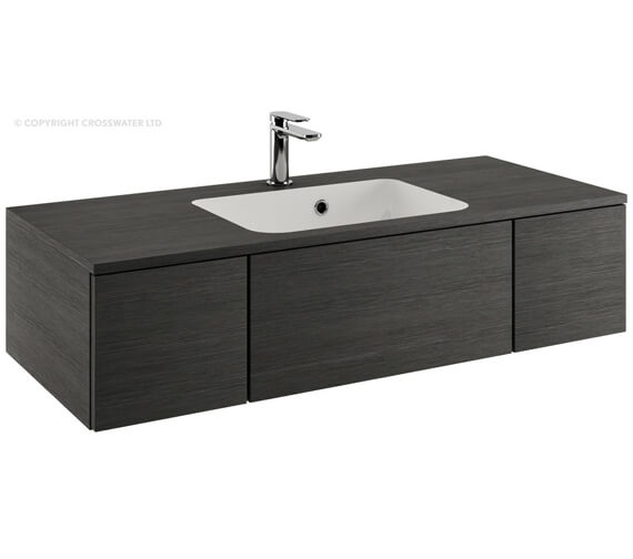 Alternate image of Bauhaus Pier 1000mm Anthracite Double Drawer Console Unit And Basin