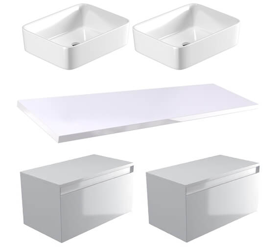 Additional image of Saneux Podium 1800mm Unit With Worktop And Basin