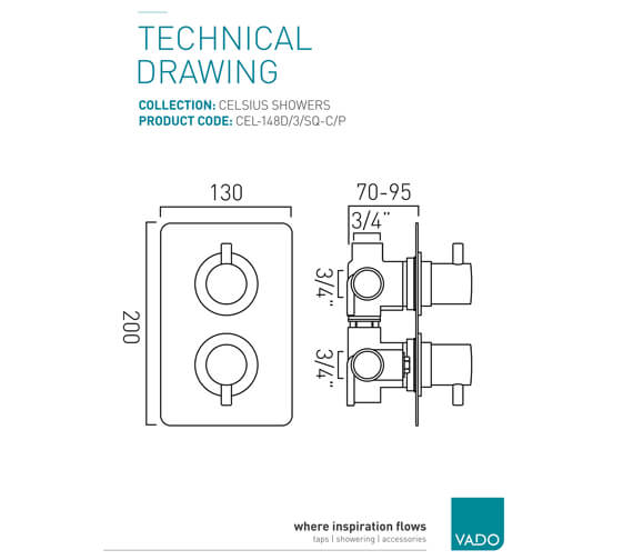 Additional image of Vado Celsius Square Concealed 1 outlet 2 Handle Thermostatic Shower Valve