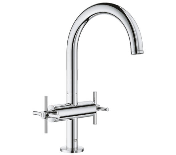 Grohe Atrio L Size Deck Mounted Basin Mixer Tap With Push-Open Waste - Crosshed Handle