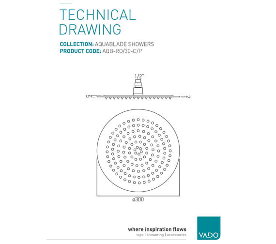 Additional image of Vado Aquablade Single Function Round Slimline Shower Head