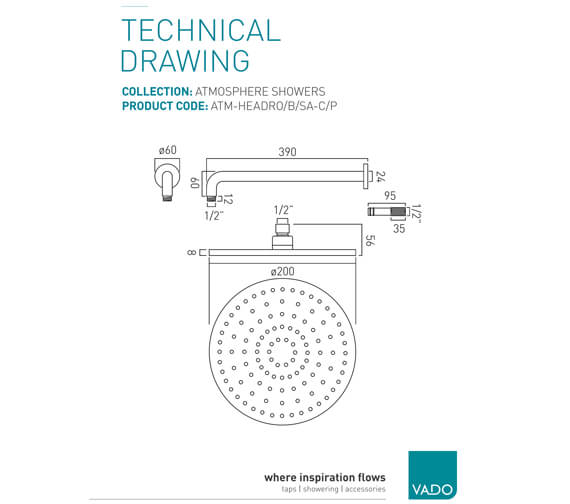 Additional image of Vado Atmosphere Square Aerated Shower Head With Arm - ATM-HEAD-SQ-SA