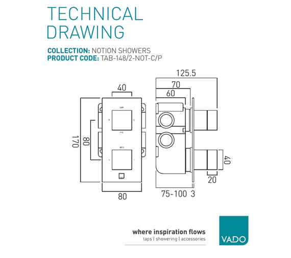 Additional image of Vado Tablet Notion 2 Outlet Concealed Thermostatic Valve Horizontal
