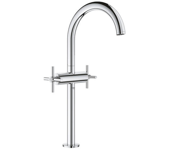Grohe Atrio XL Size Deck Mounted Basin Mixer Tap With Push-Open Waste - Crosshed Handle
