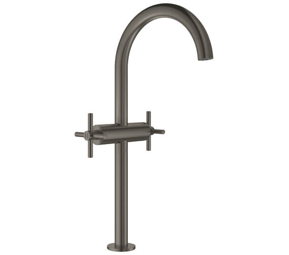 Additional image of Grohe Atrio XL Size Deck Mounted Basin Mixer Tap With Push-Open Waste - Crosshed Handle