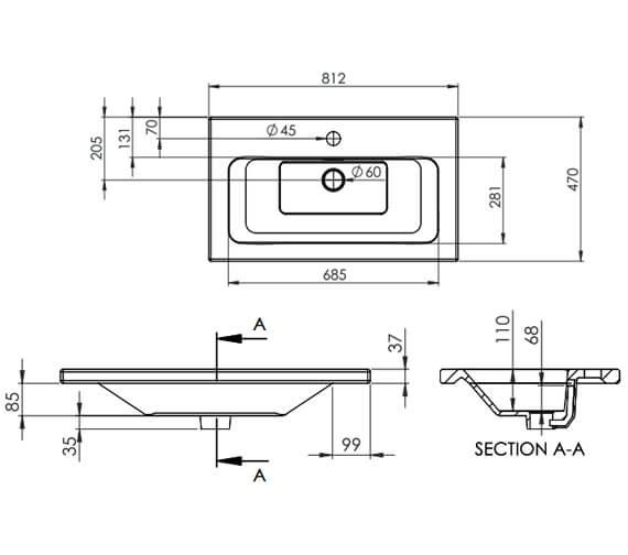Additional image of Saneux Uni 600mm Wide One Taphole Washbasin
