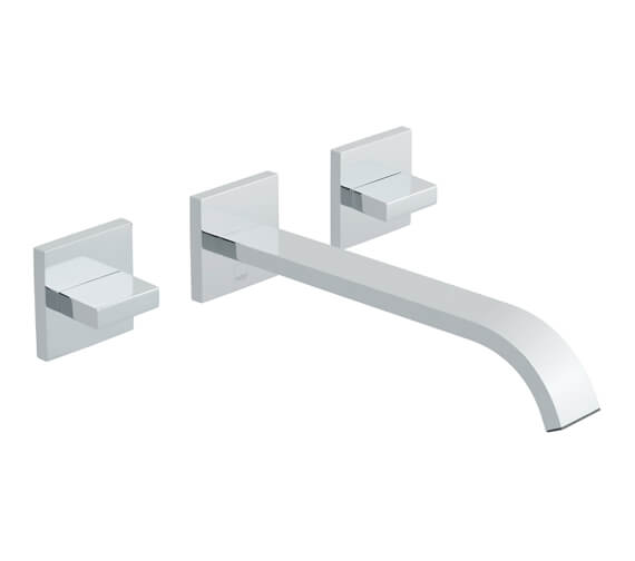 Vado Geo Wall Mounted 3 Hole Basin Mixer Tap With 220mm Spout