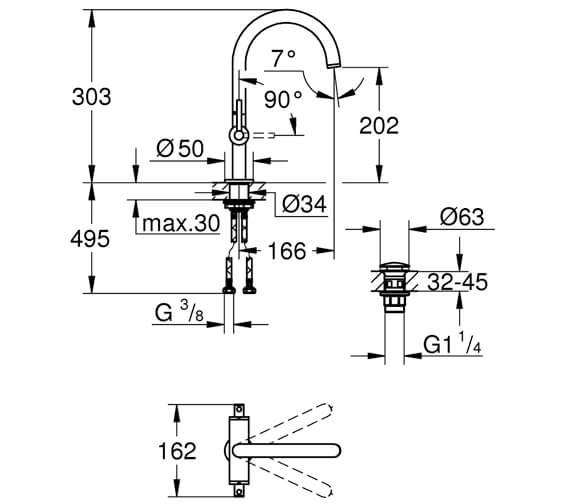Technical drawing QS-V88917 / 21022003