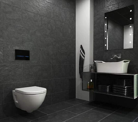 Geberit Sigma80 Touchless Mains Operated Dual Flush Plate Black Glass
