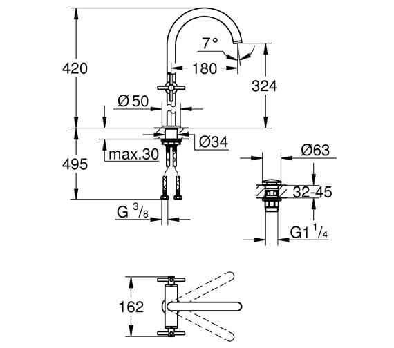 Technical drawing QS-V88918 / 21044003