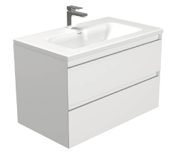 Saneux Uni 800mm Matt White 2 Drawer Unit With 1 Taphole Washbasin