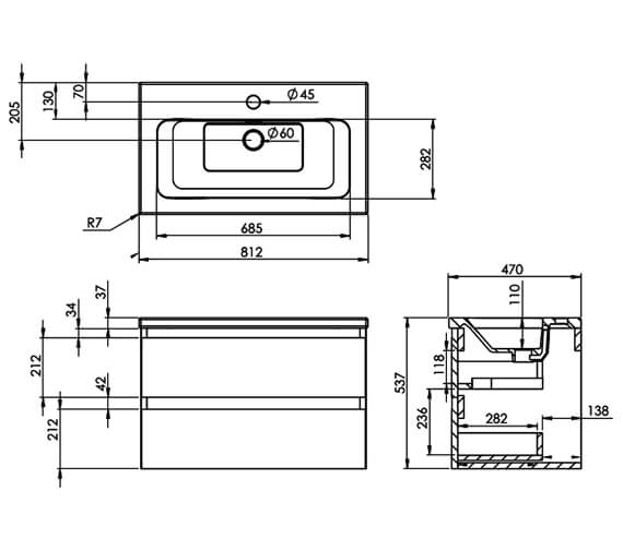 Technical drawing QS-V80995 / UF080.MW