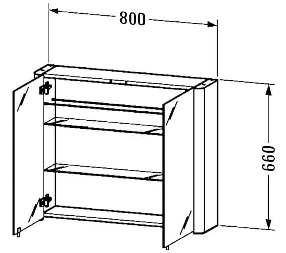 Additional image of Duravit Aluminium White 660mm Height Mirror Cabinet