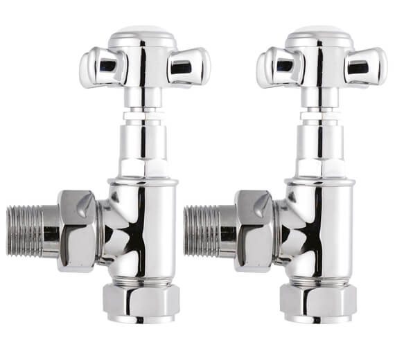 Hudson Reed Victorian Crosshead Pair Of Angled Radiator Valve Chrome