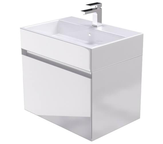 Saneux Podium 600mm Gloss White 1 Drawer Cabinet With Matteo Washbasin