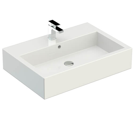 Additional image of Saneux Podium 600mm Gloss White 1 Drawer Cabinet With Matteo Washbasin