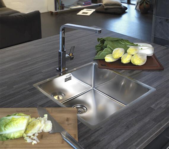 Reginox New York Single Bowl Stainless Steel Integrated Sink 220mm