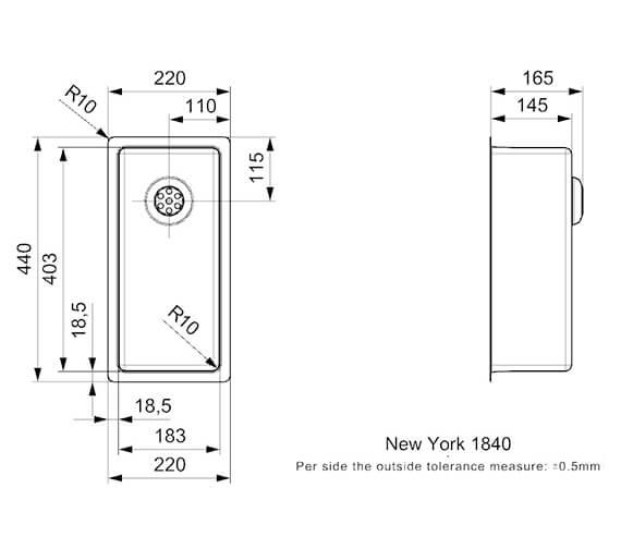 Technical drawing QS-V99015 / NEW YORK 18X40 L