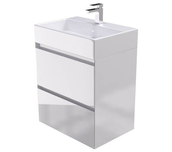 Saneux Podium 600mm Gloss White 2 Drawer Cabinet With Matteo Washbasin
