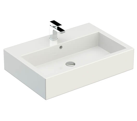 Additional image of Saneux Podium 600mm Gloss White 2 Drawer Cabinet With Matteo Washbasin