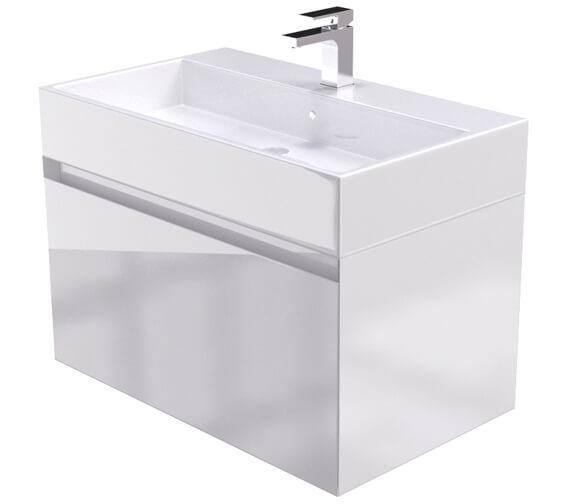 Saneux Podium 750mm Gloss White 1 Drawer Cabinet With Matteo Washbasin