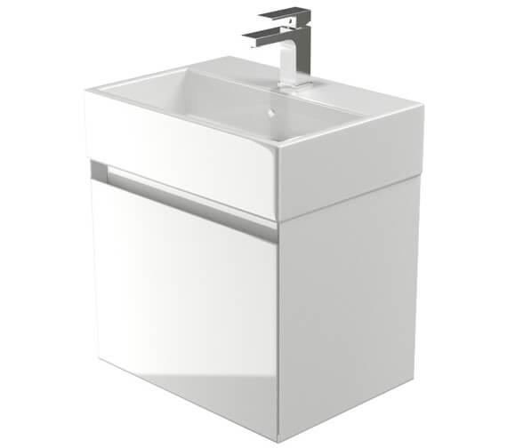 Saneux Podium 500mm 1 Drawer Gloss White Cabinet With Matteo Washbasin