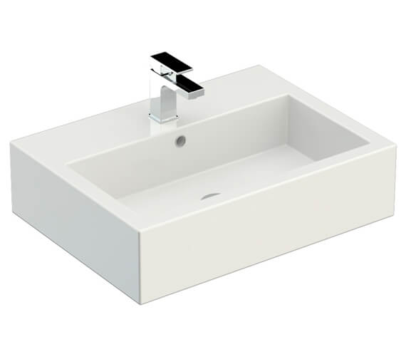 Additional image of Saneux Podium 500mm 1 Drawer Gloss White Cabinet With Matteo Washbasin