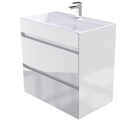 Saneux Podium 750mm Gloss White 2 Drawer Cabinet With Matteo Washbasin