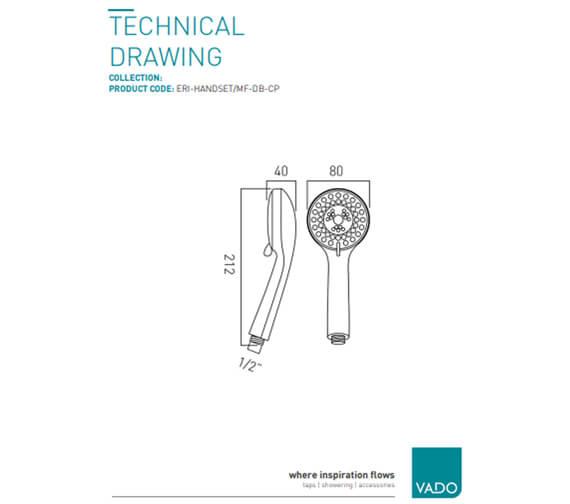 Additional image of Vado Eris 1 Function Shower Handset