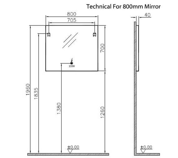 Additional image of VitrA Brite LED Illuminated Mirror