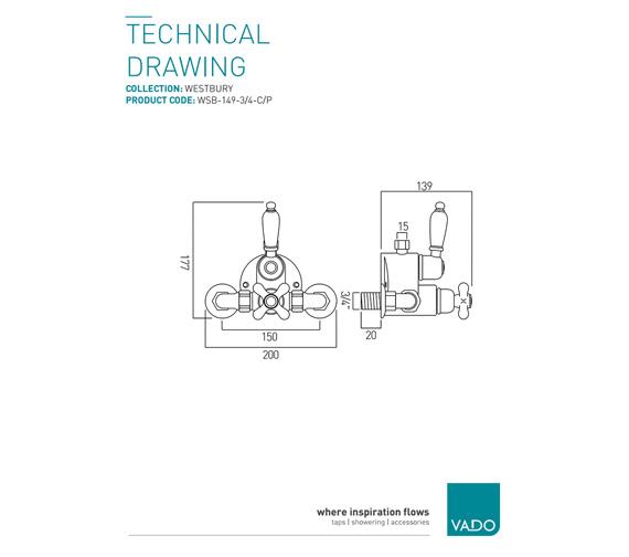 Technical drawing QS-V9396 / WSB-149-3/4-C/P