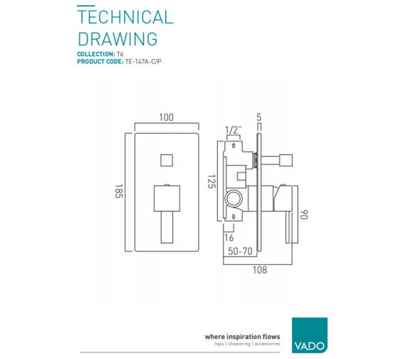 Additional image of Vado Te Concealed Single Lever 1 Outlet Shower Valve Without Diverter
